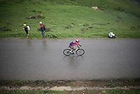 Yukiya Arashiro (JAP/Lampre-Merida) into the treacherous descent off the Col de Joux Plane (HC/1691m/11.6km/8.5%) towards the finish in Morzine<br /> <br /> Stage 20: Megève › Morzine (146.5km)<br /> 103rd Tour de France 2016