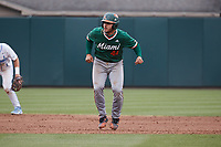 Miami Hurricanes catcher Adrian Del Castillo (44) takes his lead off of second base against the North Carolina Tar Heels at Boshamer Stadium on April 23, 2021 in Chapel Hill, North Carolina. (Andy Mead/Four Seam Images)