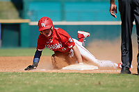 Tommy DiLandri (9) slides into third base during the Baseball Factory All-Star Classic at Dr. Pepper Ballpark on October 4, 2020 in Frisco, Texas.  Tommy DiLandri (9), a resident of Las Vegas, Nevada, attends Palo Verde High School.  (Mike Augustin/Four Seam Images)