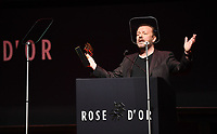 Picture by Simon Wilkinson/SWpix.com - 1/12/19 - Rose d'Or 2019 - Kings Place, London. Ricky Gervais accepts award.