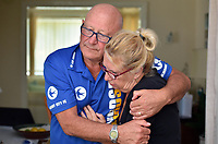 """Pictured is Richard Best's step father, Barrie Thomas, left, and Richard Best's mother, Pamela Thomas, right.<br /> Re: The parents of Richard Best, who died in an accident that left him with a serious head injuries after tripping over his own flip flop have paid tribute to him as """"a life-long Cardiff supporter who touched the hearts of everyone"""".<br /> Around 1,000 will attend the funeral of Richard Best, who died in the accident in the early hours of July 3, 2018.<br /> """"He was so well loved by everyone."""" said his mum Pam.<br /> """"I just can't believe how many hearts he touched. I find it hard to still accept it, at times I am in denial and other times I realise what has happened.""""<br /> The family's home in Baglan, south Wales has been inundated with cards and flowers since Richard, who worked at the steelworks in Port Talbot, was found with a head injury."""