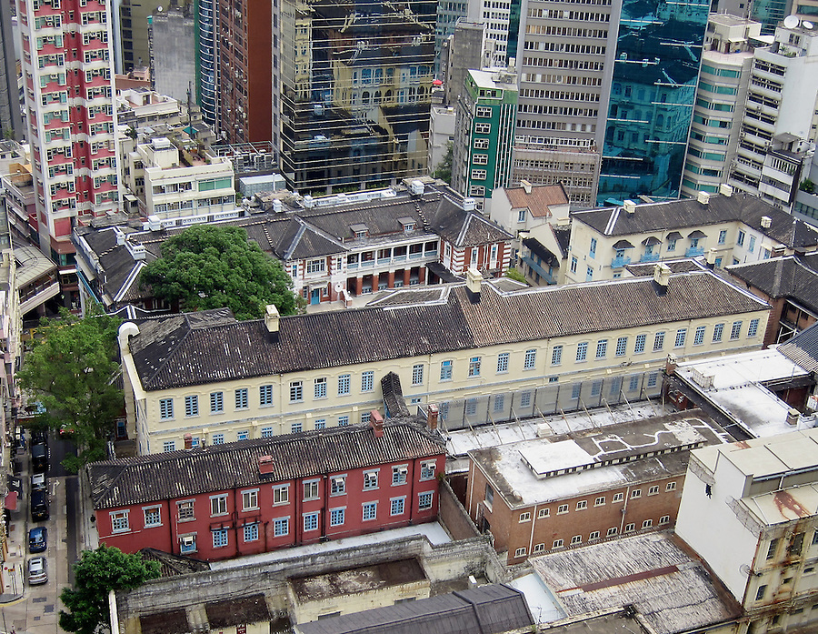 The former Central Police Station and Victoria Prison.  The Central Magistracy is also part of the complex but is out of frame to the right.  (This was prior to the HKJC's massive restoration project completed in May 2018.)