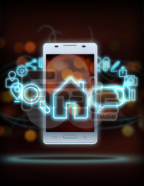Illustration of various mobile applications rotating around smart phone over colored background
