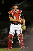 July 1st 2008:  Catcher Jeff Christy of the Rochester Red Wings, Class-AAA affiliate of the Minnesota Twins, during a game at Frontier Field in Rochester, NY.  Photo by:  Mike Janes/Four Seam Images