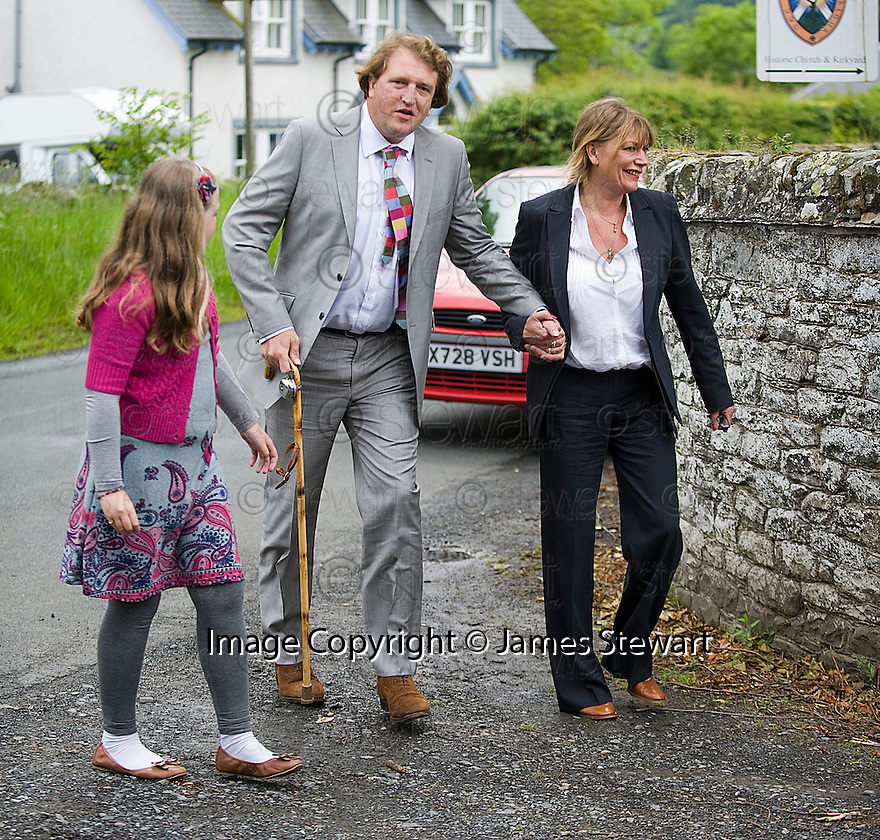 CHRISTOPHER TENANT ARRIVES AT TRAQUAIR KIRK, KIRKHOUSE, FOR THE MEMORIAL SERVICE FOR HIS FATHER LORD COLIN CHRISTOPHER PAGET GLENCONNER