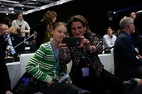 Teresa Ribera, minister of environment of Spain, takes a selfie with Greta Thunberg durin the nineth day oif COP25 Chile-Madrid at IFEMA Madrid on 11 Dec 2019.Photo ALTERPHOTOS/Manu RB/Insidefoto