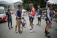 """UCI bike check for Lars Bak (DEN/Lotto-Soudal) at the finish; """"I'm curious to know if it gained any weight...""""<br /> <br /> Stage 18 (ITT) - Sallanches › Megève (17km)<br /> 103rd Tour de France 2016"""