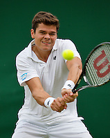 27-06-13, England, London,  AELTC, Wimbledon, Tennis, Wimbledon 2013, Day four, Milos Raonic (CAN)<br /> <br /> <br /> <br /> Photo: Henk Koster