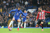 Ruben Loftus Cheek of Chelsea in action as Southampton's Adam Armstrong looks on during Chelsea vs Southampton, Premier League Football at Stamford Bridge on 2nd October 2021