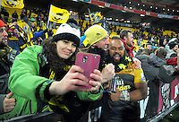 Loni Uhila gets a selfy with fans after the Super Rugby final match between the Hurricanes and Lions at Westpac Stadium, Wellington, New Zealand on Saturday, 6 August 2016. Photo: Dave Lintott / lintottphoto.co.nz