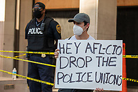 Protesters outside of the AFL-CIO building during a march against police brutality and racism in Washington, D.C. on Saturday, June 6, 2020.<br /> Credit: Amanda Andrade-Rhoades / CNP/AdMedia