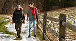 WASHINGTON, CT-010921JS06-  Wilson King, a student at the prestigious London School of Economics, spends some time with his mother Julie King, as they walk along their property in Washington Saturday. Wilson, who graduated from Shepaug Valley School as class valedictorian in 2019, had to leave the London school in March 2020 due to the COVID-19 pandemic. The London School of Economics this week has shifted all learning remotely for the rest of the school year. King will now have to wait until the fall to get back to London. <br /> Jim Shannon Republican-American