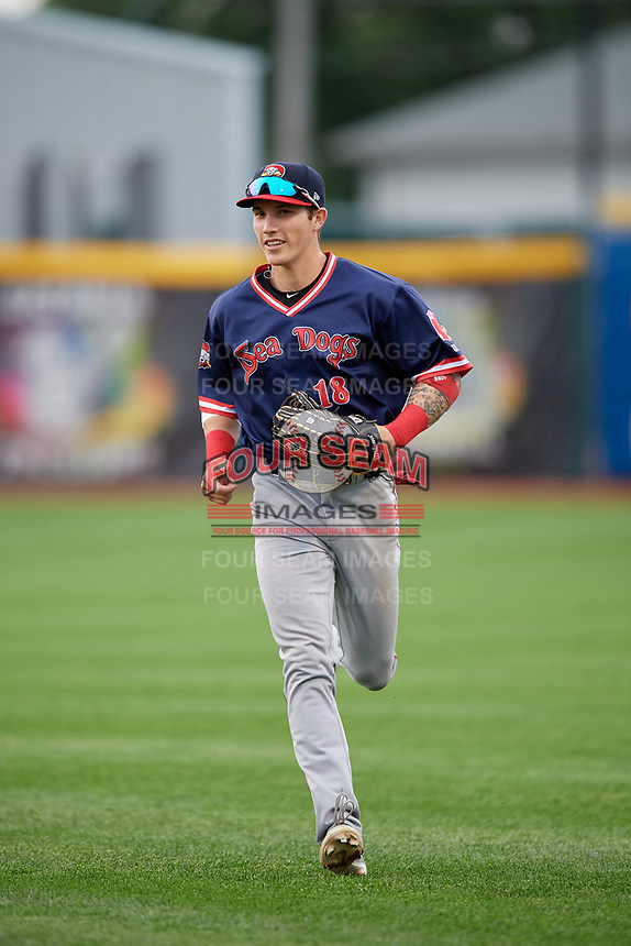 Portland Sea Dogs outfielder Jarren Duran (18) jogs to the dugout during an Eastern League game against the Erie SeaWolves on June 17, 2019 at UPMC Park in Erie, Pennsylvania.  Portland defeated Erie 6-3.  (Mike Janes/Four Seam Images)