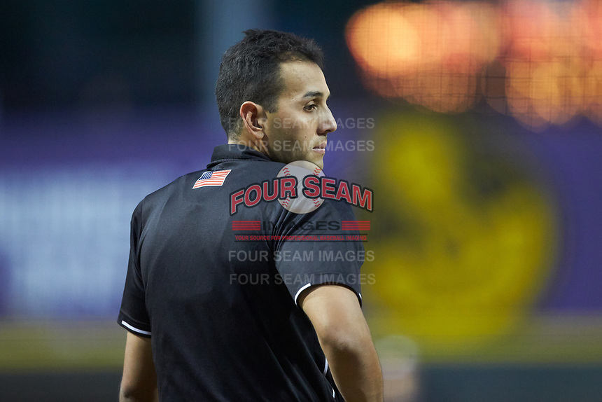 Home plate umpire Raul Moreno works the Carolina League game between the Wilmington Blue Rocks and the Winston-Salem Dash at BB&T Ballpark on April 17, 2019 in Winston-Salem, North Carolina. The Blue Rocks defeated the Dash 2-1. (Brian Westerholt/Four Seam Images)