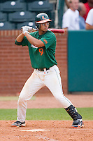 Harold Martinez #9 of the Miami Hurricanes at bat against the Boston College Eagles at the 2010 ACC Baseball Tournament at NewBridge Bank Park May 27, 2010, in Greensboro, North Carolina.  The Eagles defeated the Hurricanes 12-10 in 10 innings.  Photo by Brian Westerholt / Four Seam Images