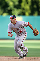Washington Nationals second baseman Danny Espinosa #18 in the field against the Los Angeles Angels at Angel Stadium on June 29, 2011 in Anahein,California. (Larry Goren/Four Seam Images)