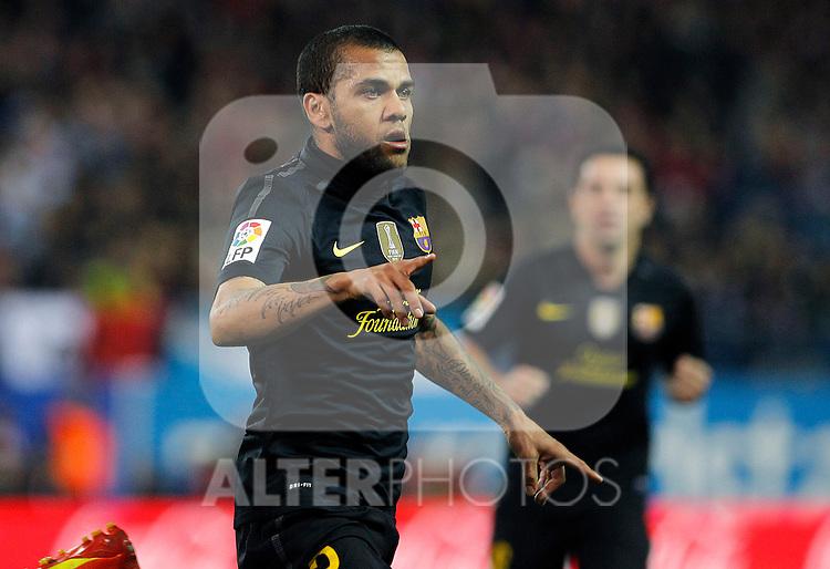 FC Barcelona's Daniel Alves celebrates goal during La Liga match.February 26 ,2012. (ALTERPHOTOS/Acero)