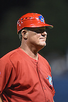 Clearwater Threshers manager Greg Legg (11) during a game against the Tampa Yankees on April 21, 2015 at Bright House Field in Clearwater, Florida.  Clearwater defeated Tampa 3-0.  (Mike Janes/Four Seam Images)