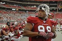 Aug 18, 2007; Glendale, AZ, USA; Arizona Cardinals defensive tackle Gabe Watson (98) against the Houston Texans at University of Phoenix Stadium. Mandatory Credit: Mark J. Rebilas-US PRESSWIRE Copyright © 2007 Mark J. Rebilas