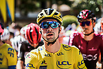 Team Mates race leader Primoz Roglic (SLO) lines up for the start of Stage 4 of Criterium du Dauphine 2020, running 157km from Ugine to Megeve, France. 15th August 2020.<br /> Picture: ASO/Alex Broadway | Cyclefile<br /> All photos usage must carry mandatory copyright credit (© Cyclefile | ASO/Alex Broadway)