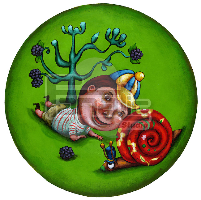 Illustrative image of boy playing looking at snail in garden