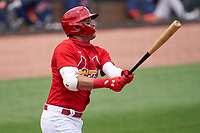 St. Louis Cardinals Dylan Carlson (3) hits a home run during a Major League Spring Training game against the Houston Astros on March 20, 2021 at Roger Dean Stadium in Jupiter, Florida.  (Mike Janes/Four Seam Images)