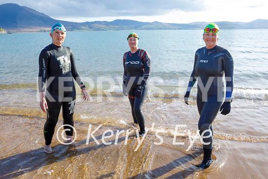 Enjoying their first swim in Fenit in 8 months, l to r: Margaret Gilbert (Causeway) Trish Murray (Ballyroe) and Jill Finucane (Listowel)