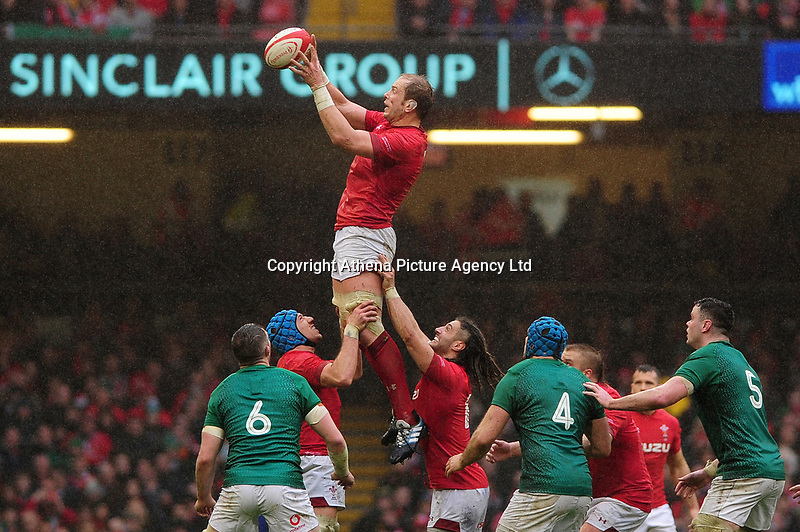 Pictured: Alun Wyn Jones of Wales claims the lineout during the Guinness six nations match between Wales and Ireland at the Principality Stadium, Cardiff, Wales, UK.<br /> Saturday 16 March 2019