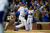 Chicago Cubs Ben Zobrist (18) hits a single in the fourth inning during Game 5 of the Major League Baseball World Series against the Cleveland Indians on October 30, 2016 at Wrigley Field in Chicago, Illinois.  (Mike Janes/Four Seam Images)