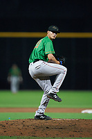 Down East Wood Ducks pitcher Francisco Villegas (31) during a Carolina League game against the Fayetteville Woodpeckers on August 13, 2019 at SEGRA Stadium in Fayetteville, North Carolina.  Fayetteville defeated Down East 5-3.  (Mike Janes/Four Seam Images)