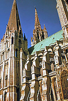 Chartres Cathedral, Chartres, France. Detail of steeples and exterior. Gothic style