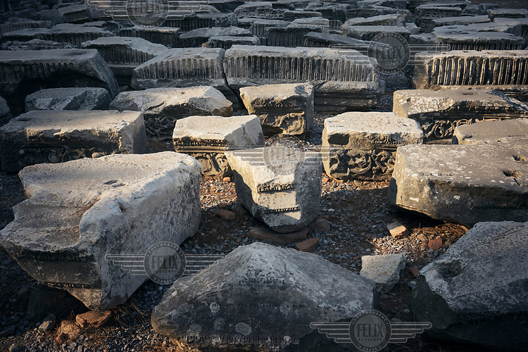 The remains of capitals laid out on a field at the archaeological site at Ephesus.