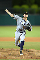 Salt River Rafters pitcher Merrill Kelly (46), of the Tampa Bay Rays organization, during an Arizona Fall League game against the Glendale Desert Dogs on October 16, 2013 at Camelback Ranch in Phoenix, Arizona.  Glendale defeated Salt River 8-6.  (Mike Janes/Four Seam Images)