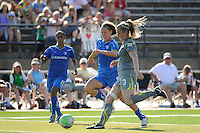 Lauren Cheney (8) of the Boston Breakers and Allison Falk (3) of the Philadelphia Independence. The Boston Breakers defeated the Philadelphia Independence 2-1 during a Women's Professional Soccer (WPS) match at John A. Farrell Stadium in West Chester, PA, on July 4, 2010.