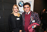 Sarah Hughes from Auckland City BMW and 1st XV captain Hayes Okasene. Kings College 1st XV Jersey Presentation at Bayleys Real Estate Head Office, Viaduct Harbour, Auckland, New Zealand. Wednesday 3 May 2017. Photo: Simon Watts/www.bwmedia.co.nz for Kings College