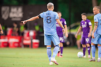 LAKE BUENA VISTA, FL - JULY 14: Alexander Ring #8 of NYCFC defends the ball during a game between Orlando City SC and New York City FC at Wide World of Sports on July 14, 2020 in Lake Buena Vista, Florida.