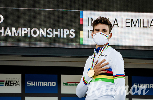 Filippo Ganna (ITA/Ineos-Grenadiers) is crowned the new Men's TT World Champion <br /> <br /> Men's Elite Time trial from Imola to Imola (31.7km)<br /> <br /> 87th UCI Road World Championships 2020 - ITT (WC)<br /> <br /> ©kramon