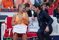 Bratislava, Slovenia, April 23, 2017,  FedCup: Slovakia-Netherlands,First rubber sunday,  Dutch bench with Captain Paul Haarhuis and Kiki Bertens<br /> Photo: Tennisimages/Henk Koster