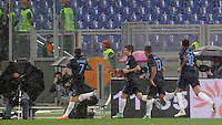 Calcio, Serie A: Roma vs Inter. Roma, stadio Olimpico, 30 novembre 2014.<br /> FC Inter's Pablo Daniel Osvaldo, left, celebrates with teammates after scoring during the Italian Serie A football match between AS Roma and FC Inter at Rome's Olympic stadium, 30 November 2014.<br /> UPDATE IMAGES PRESS/Riccardo De Luca