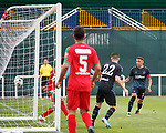 11.01.2020 Rangers v Lokomotiv Tashkent, Sevens Stadium, Dubai:<br /> James Tavernier heads in goal no 4