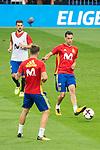 David Villa, Sergio Busquets and Saul Niguez during Spain training session at Santiago Bernabeu Stadium in Madrid, Spain September 01, 2017. (ALTERPHOTOS/Borja B.Hojas)