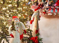 Christmas tree decorated with snowman. Providence Festival of Trees. Portland. Oregon