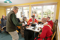 BNPS.co.uk (01202) 558833<br /> Pic: ZacharyCulpin/BNPS<br /> <br /> Tea rooms are back!<br /> <br /> Open after lockdown<br /> <br /> Town Criers and members of the Wimborne Militia dress for the occasion, enjoy a catch up and toast the reopening of Wimborne Model Town Tea Rooms after national lockdown due to the coronavirus pandemic<br /> <br /> Pictured:  (From left) Wareham Town Crier, Jacqui Hall, Wimborne Town Crier, Chris Brown, Wimborne Militia members Mallvin Gudger and Chris Simpson (front right)