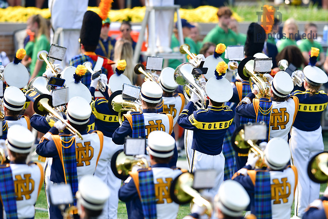 September 11, 2021; The Notre Dame Marching Band and the Toledo Marching Band combine for a halftime performance at the first home game of 2021. (photo by Matt Cashore/University of Notre Dame)