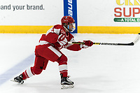 WORCESTER, MA - FEBRUARY 08: Alexandra Calderone #4 of Boston University takes a shot during a game between Boston University and College of the Holy Cross at Hart Center Rink on February 08, 2020 in Worcester, Massachusetts.