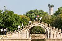 Wenzhou, Zhejiang, China.  Jiangxin Island, Moon Bridge, East Pagoda in Background (Rebuilt 1141).