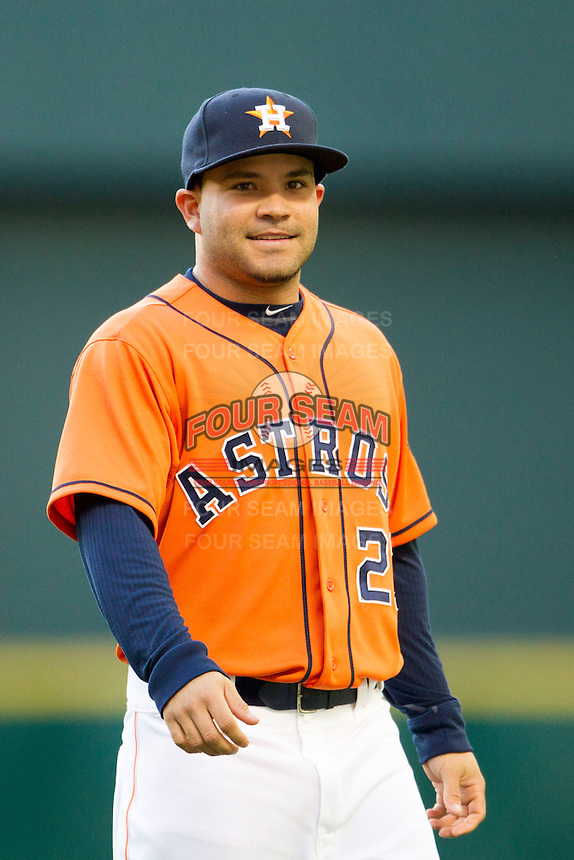 Houston Astros second baseman Jose Altuve (27) warms up before the MLB baseball game against the Detroit Tigers on May 3, 2013 at Minute Maid Park in Houston, Texas. Detroit defeated Houston 4-3. (Andrew Woolley/Four Seam Images).
