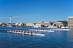 Rowing, Seattle, Lake Union, women's eights, workout, Space Needle,.