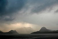 Looking West in Romsdalsfjorden from the outskirts of Åndalsnes. Rapidly shifting weather is typical for this part of Norway. Photograph taken during World BASE Race. .© Fredrik Naumann/Felix Features