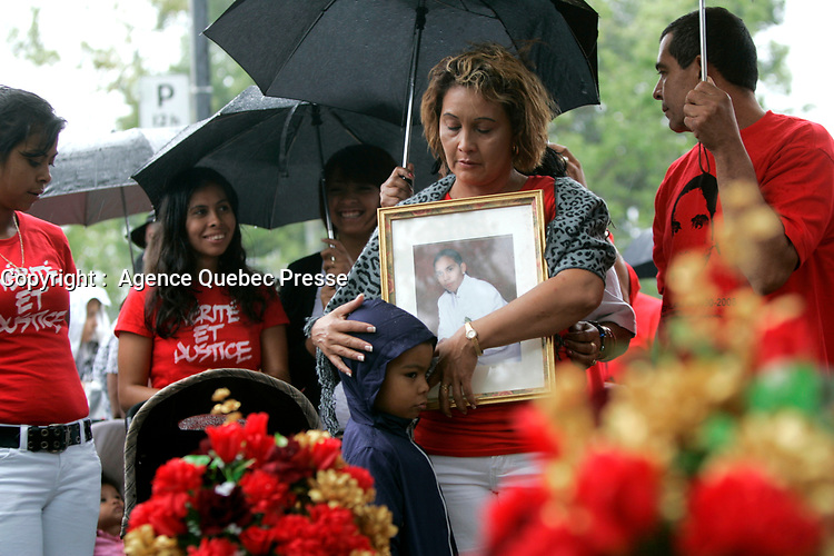 Montreal (Qc) CANADA - Aug 8  2010  - Family and friends commemorate the accidental shooting of Freddy Villanueva by a Montreal Police officer in 2008
